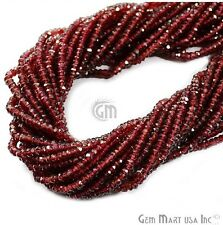 """AAA Quality Micro Faceted Garnet Rondelle Beads 3-4 mm 14"""" Length RLGT-70002"""