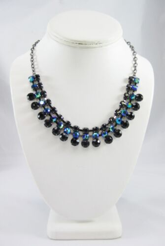 New Hematite Necklace with Glass AB Rhinestones NWT by Candies #N2481