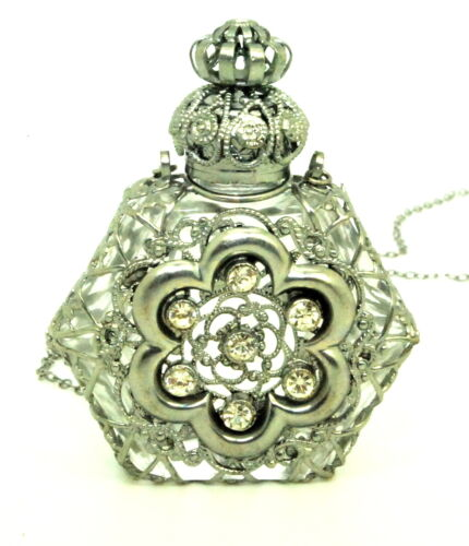Czech Perfume Oil Holy Water Bottle Pendant Necklace holder ships from MA, USA