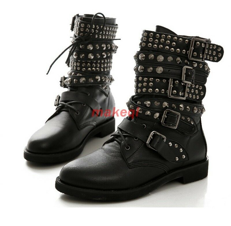 Womens Buckle Strap Lace Up Rivet Studded Punk Ankle Boot Shoes Plus Size Black