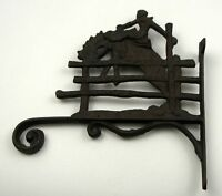 Set Of 2 Cast Iron Cowboy Plant Hanger Mounted Wall Hanging Ranch Western Decor