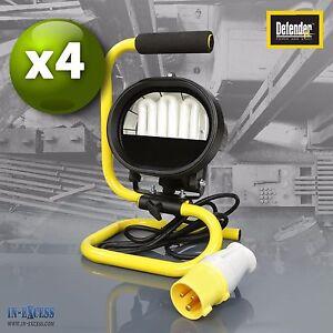 4 X Defender Compact Lampe de travail pour site de plancher fluorescent, lampe 110v E709202