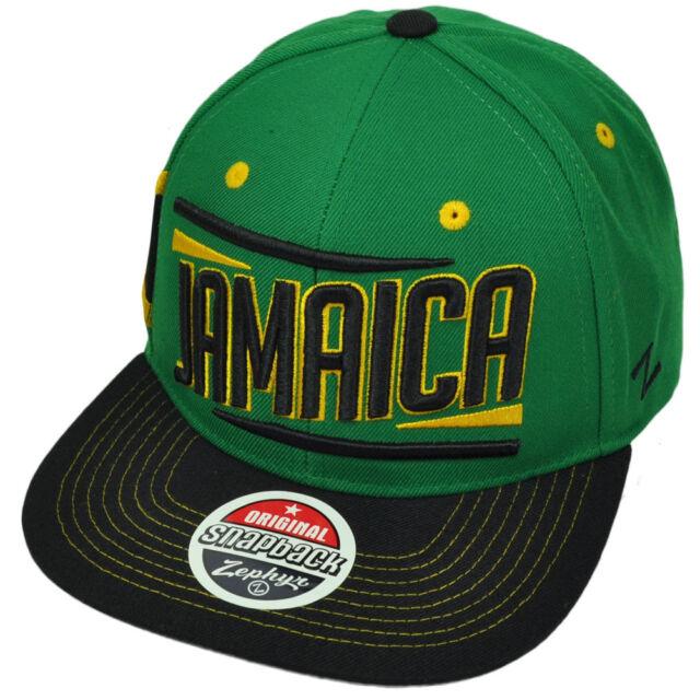 3ad7fb02ebeb1 Zephyr Victory Jamaica Country Flag Green Black Flat Bill Snapback Hat Cap