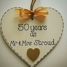 50th golden wedding anniversary gift personalised  handmade wooden heart