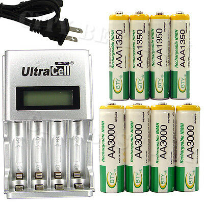 4 AA + 4 AAA 1350mAh 3000mAh NiMH 1.2V Rechargeable Battery US LCD Charger BTY