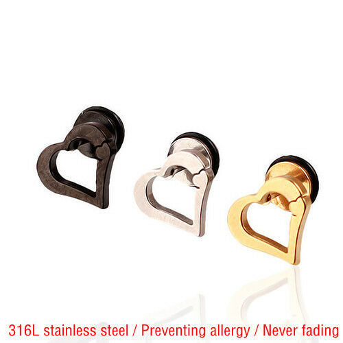 Pair 316L Titanium steel Hipsters Heart-shaped Stud earrings Lover gift E010H