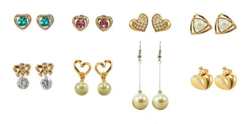 Crystal Diamante Pearl Stud Drop Earrings Heart Bow BUY 2 GET 1 FREE