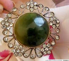 Brosche 875°Silber Blüte echte Jade Bergkristall Russland im Jugendstil1967 B136