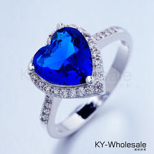 Love heats Real Platinum Plated Blue Cubic Zircon Gemstone Rings X0030 Size 6