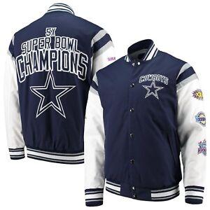 buy popular 826d1 256d2 Details about DALLAS COWBOYS NFL 5 TIME SUPERBOWL CHAMPION COMMEMORATIVE  NAVY / WHITE JACKET
