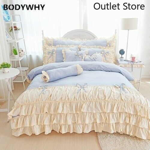 Korean Princess Cotton Bedding Set Ruffle Duvet Cover Bed Skirt Pillowcases