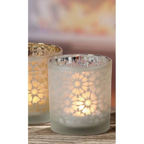 Teelichthalter Windlicht mit Blütenmotiv verspiegelt silber 8cm