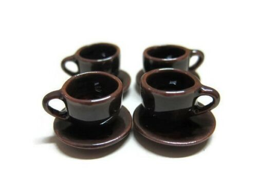 8 Metallic Earthenware Coffee Cup and Saucer Dollhouse Miniatures Supply Food