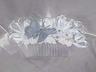 WEDDING BRIDESMAID FLOWER HAIR COMB SLIDE DIAMANTE'S BUTTERFLY WHITE ANY COLOUR