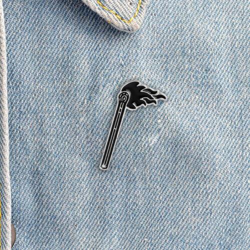Enamel Black Flame Brooch Pin Shirt Collar Badges Pin Breastpin Jewelry Gift HGU