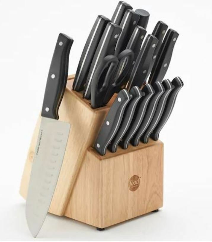 Food Network 18-pc.Triple-Riveted Cutlery Set Precision-honed Blades Sealed New
