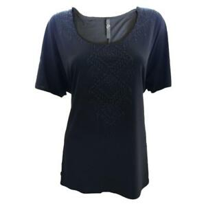 Ex-Evans-Black-Beaded-Smart-Soft-Stretchy-Tee-T-Shirt-Top-Size-16-18-20-22-26
