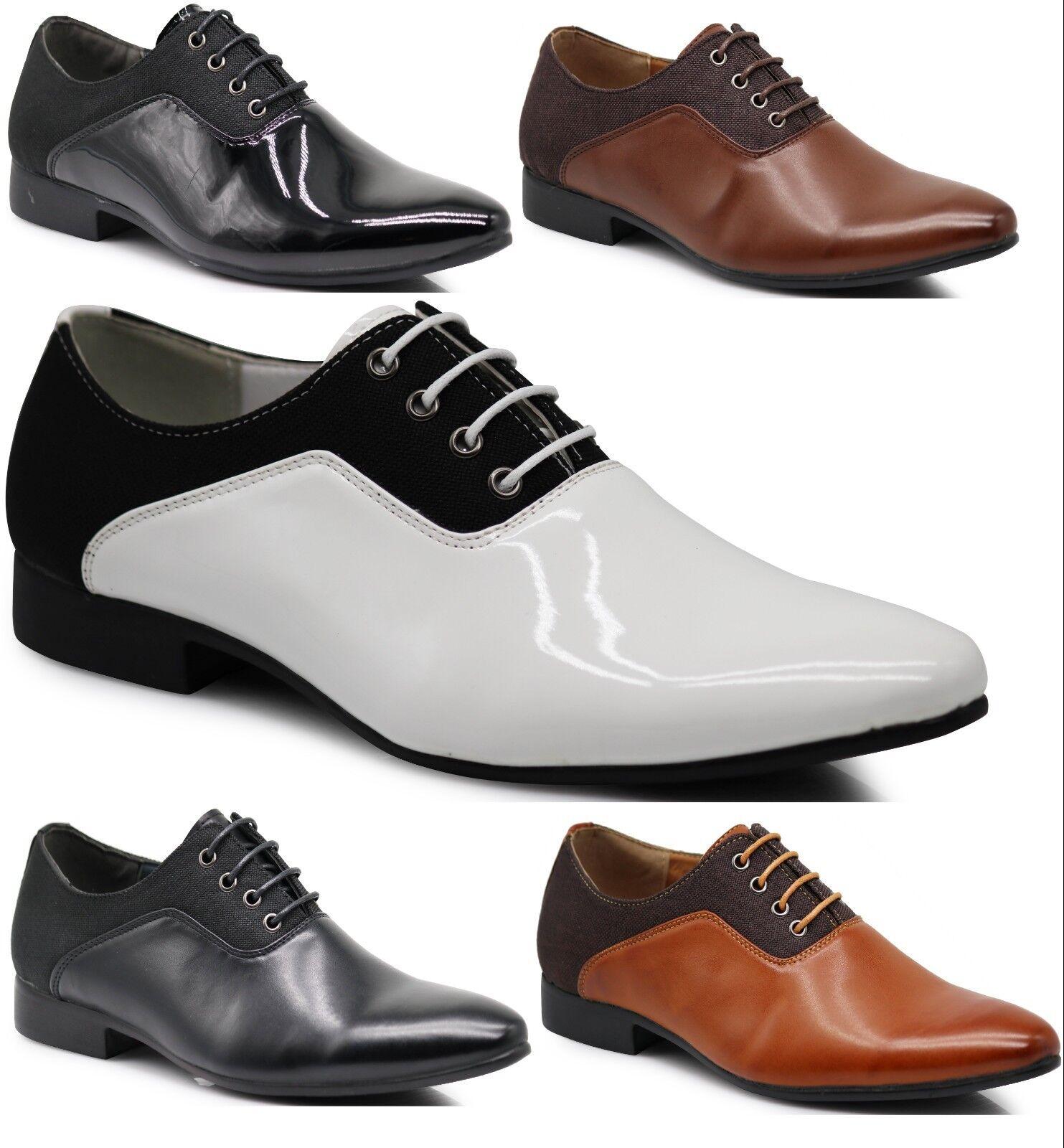 New Men Two Tone Dress shoes Tuxedo Fashion Lace Up Oxfords Patent shoes PL07