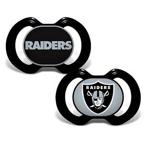 Oakland Raiders Pacifiers 2 Pack Set Infant Baby Fanatic BPA Free NWT