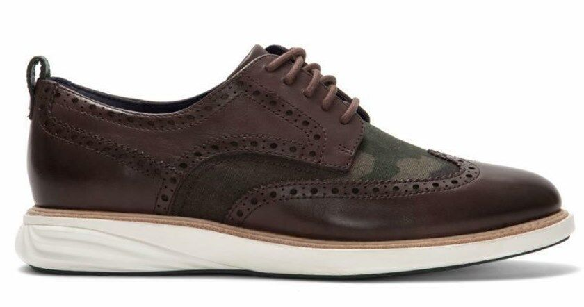 COLE HAAN GRANDEVOLUTION OXFORD LEATHER BROWN CAMO SIZE 9 NEW W BOX (C27745)