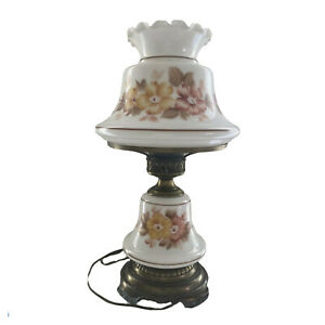 Antique-Double-Globe-Hurricane-W-Floral-Shade-Parlor-3-Way-Switch-Table-Lamp