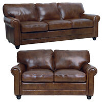 """New Luke Leather Italian Brown Down 2 Piece Set - 1 Sofa and 1 Loveseat """"Andrew"""""""