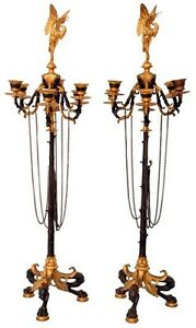 Antiques Decorative Arts Candid Pair Of Figural Regency Bronze 6-arm Candelabras #7301