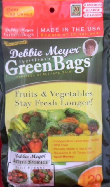 DEBBIE MEYER GREEN BAGS AS SEEN ON TV 20 Bag Pkg Reusable Made in USA