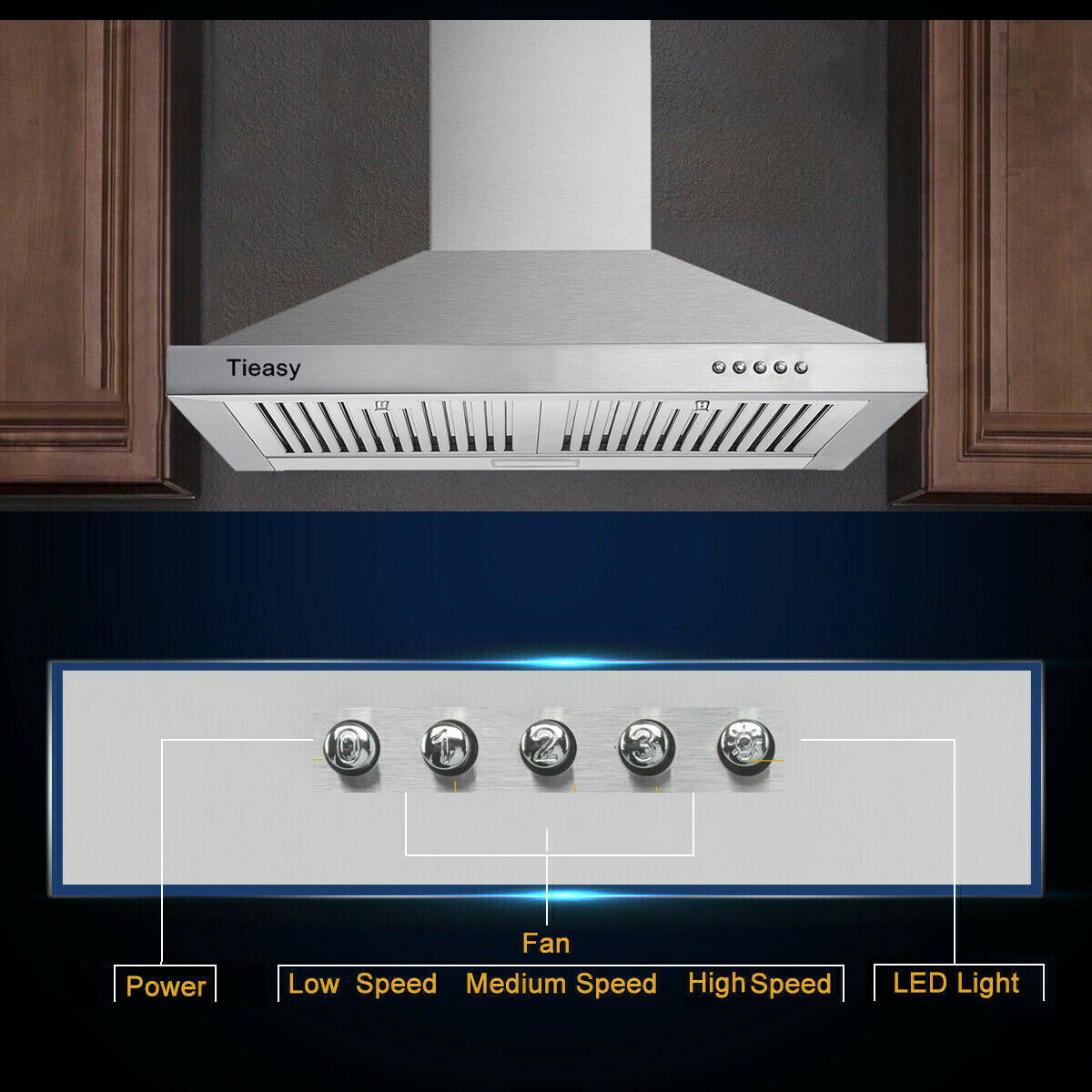 Firegas Wall Mount Range Hood Ducted Ductless Convertible 30 Inch Stainless Steel Hood Fan For Kitchen Stove Vent Hood With Permanent Filters 3 Speed Exhaust Fan Touch Screen Led Lights Appliances Range Hoods