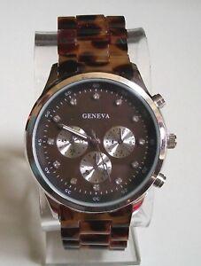 Women-039-s-Tortoise-Shell-Silver-finish-fashion-boyfriend-dressy-casual-wrist-watch