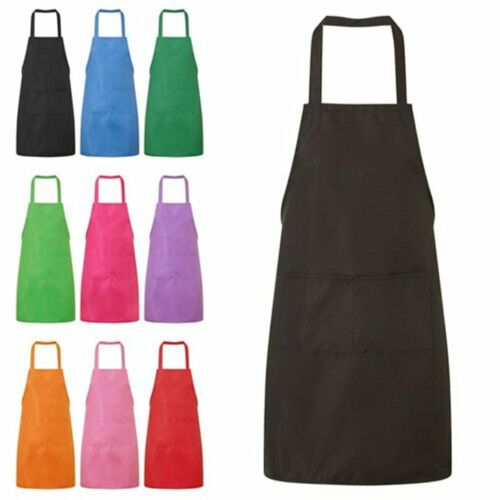 UK NEW PLAIN APRON WITH FRONT POCKET CHEFS BUTCHERS KITCHEN COOKING CRAFT BAKING