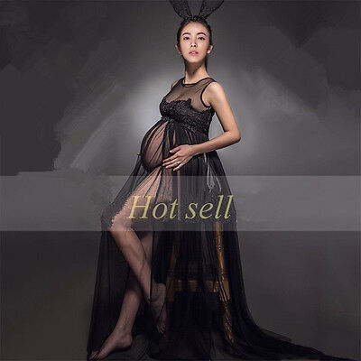 Black Voile Photography Props Elegant Maternity Lace Gown TraiDress Studio Dress