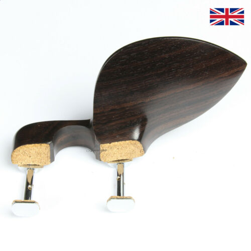 Rosewood Violin Chinrest Guarneri Model with Chrome Hill Clamps