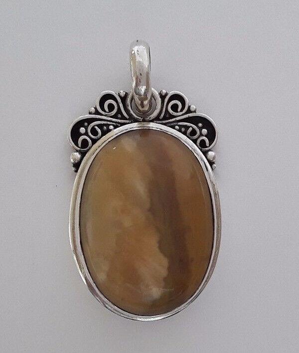 AGNES CREATIONS    SUPERBE  PENDENTIF  silver 925 ORNE IMPORTANT OEIL DE TIGRE