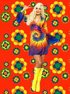 453 ✪ Arc-en-ciel trompettes Manches Mini Robe Costume 60er 70er Ans Batik Look Coloré-afficher le titre d`origine j7i4igbu-07141810-453406661
