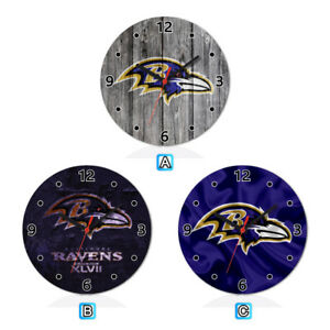 Baltimore-Ravens-Football-Wood-Wall-Clock-Home-Office-Room-Decor-Gift-Round