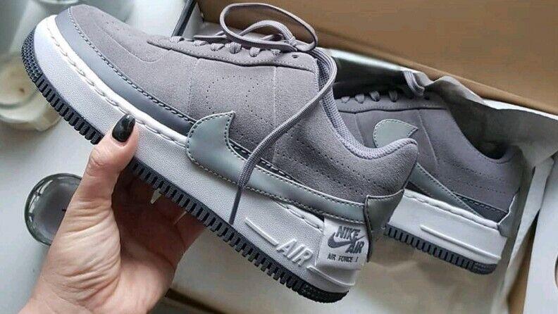 Size 9 WOMEN'S Nike Air Force JESTER LO BQ3163 001 GUNSMOKE GREY UPSTEP SNEAKERS