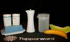 Tupperware Slate BLUE Condiments ~Butter ~Salt Pepper ~Cream Pitcher ~Cruet