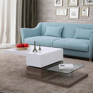 Image Is Loading 3 Layers High Gloss Coffee Table Swivel Rotating