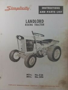 Details About Simplicity Landlord 1963 Lawn Garden Riding Tractor Owner Parts Manual 314 308
