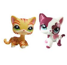 2pcs littlest pet shop LPS figure orange tiger striped Cat  & pink  Cat#128