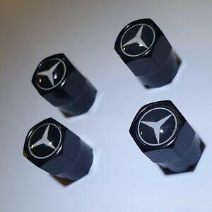 Set-aus-4-Ventilkappen-Mercedes-Benz-Schwarz-Metall-Auto-Performance