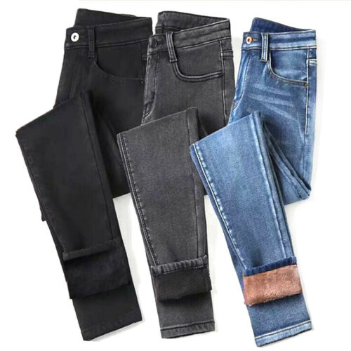 Womens High Waist Thermal Jeans Fleece Lined Denim Pant Stretchy Trousers SkNWUS
