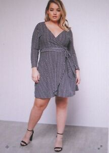 Details about rue21~New With Tags~Black Striped Wrap Front Tie Dress~Plus  Size 4-4XL