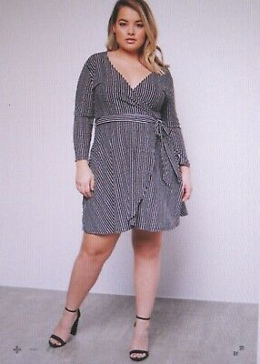 rue21~New With Tags~Black Striped Wrap Front Tie Dress~Plus Size 4-4X