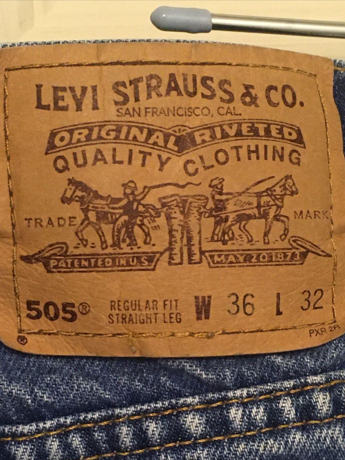 Vintage 1990s Levis 505 Orange Tab Denim Blue Jea… - image 4
