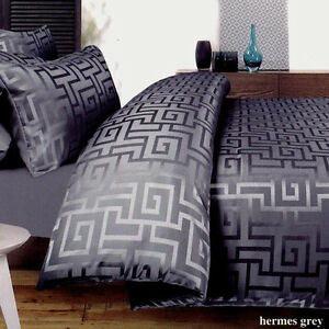 GREEK KEY Double Queen Super King Quilt Cover Set Charcoal Grey ... : key cover quilt - Adamdwight.com