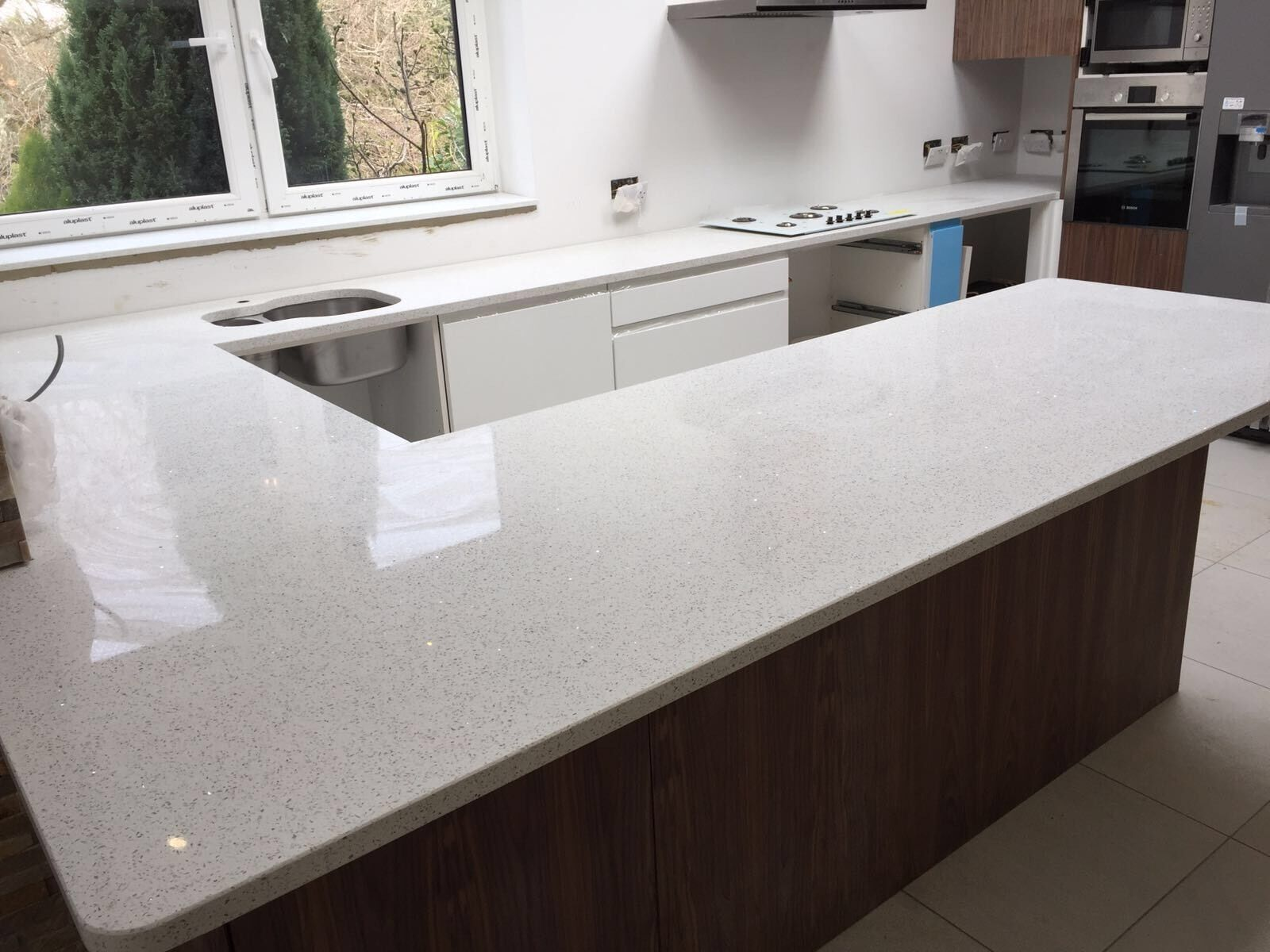 White Mirror Large Flecks | Quartz | Kitchen Worktops | eBay