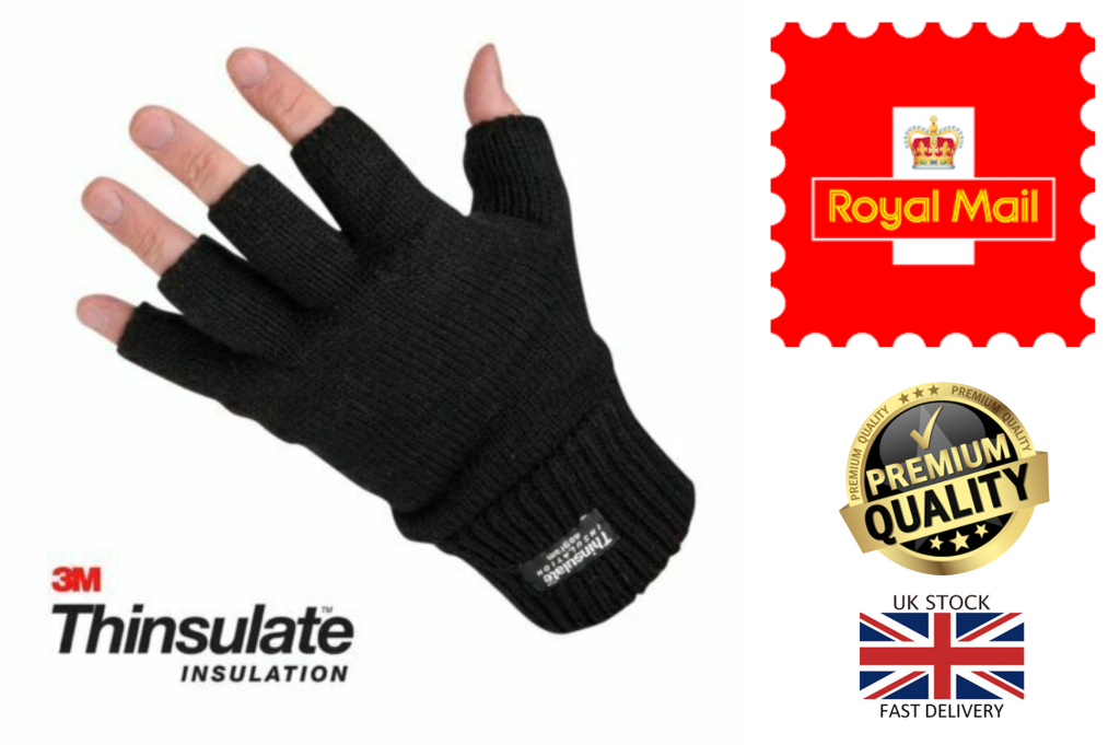 New Men's Thermal Thinsulate Knitted Fleece Lined Warm Fingerless Gloves