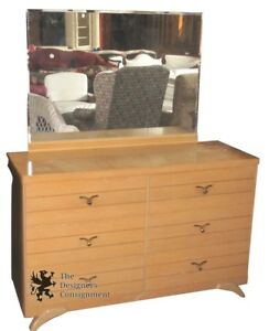 Mid Century Modern Oak 6 Drawer Dresser W Mirror 50 Dressing Table